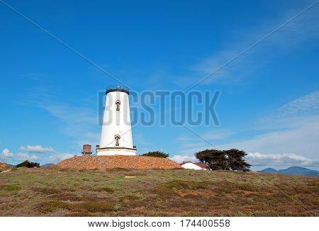 Lighthouse at Piedras Blancas point on the Central California Coast north of San Simeon California USA