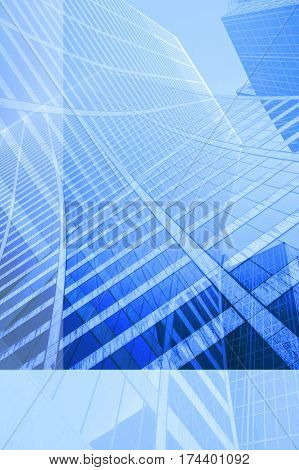 Looking up a curved skyscraper office block background