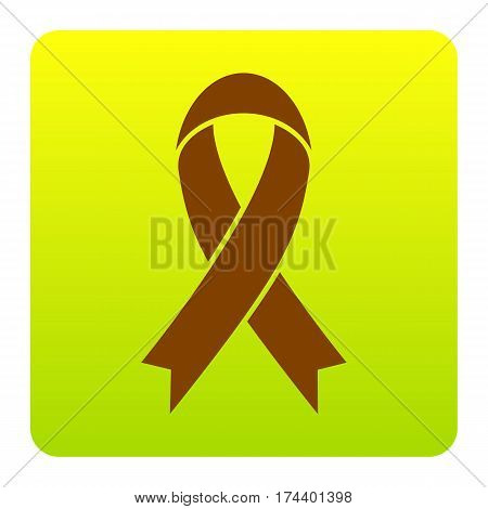 Black awareness ribbon sign. Vector. Brown icon at green-yellow gradient square with rounded corners on white background. Isolated.