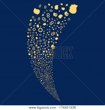 Intellect Gears random fireworks stream. Vector illustration style is flat yellow iconic symbols on a blue background. Object fountain constructed from scattered symbols.