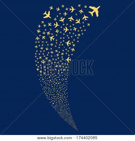 Jet Plane random fireworks stream. Vector illustration style is flat yellow iconic symbols on a blue background. Object fountain made from scattered symbols.
