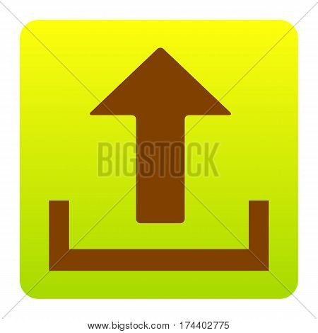 Upload sign illustration. Vector. Brown icon at green-yellow gradient square with rounded corners on white background. Isolated.