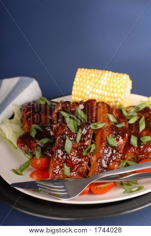 Slab Of Ribs With Corn And Scallions