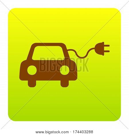 Eco electric car sign. Vector. Brown icon at green-yellow gradient square with rounded corners on white background. Isolated.
