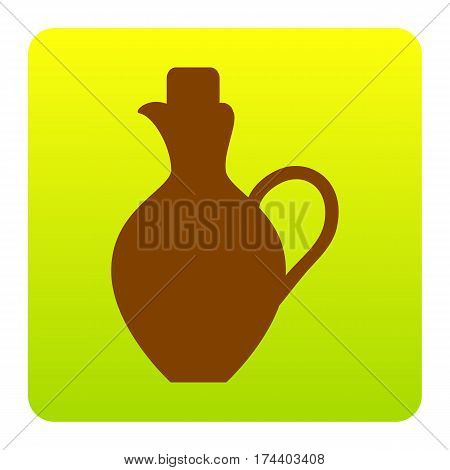 Amphora sign illustration. Vector. Brown icon at green-yellow gradient square with rounded corners on white background. Isolated.