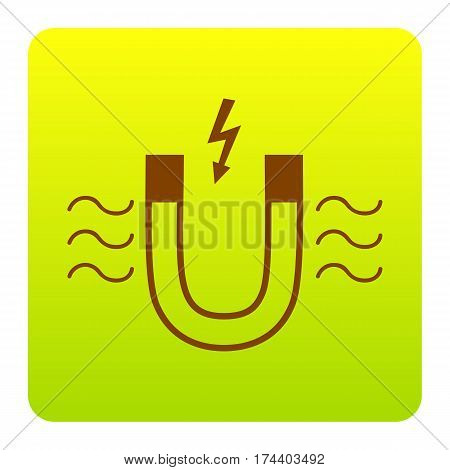 Magnet with magnetic force indication. Vector. Brown icon at green-yellow gradient square with rounded corners on white background. Isolated.