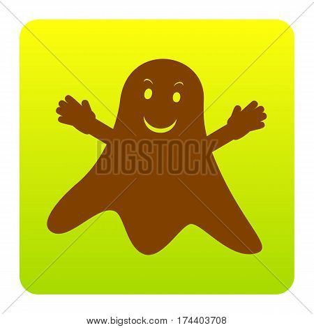 Ghost isolated sign. Vector. Brown icon at green-yellow gradient square with rounded corners on white background. Isolated.