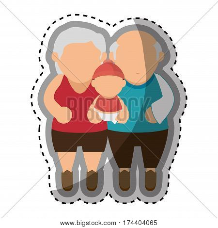 happy family members with baby vector illustration design