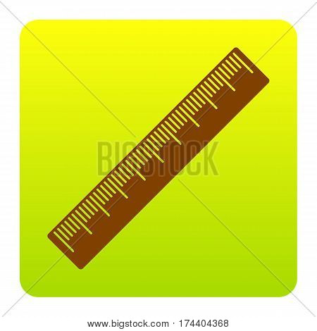 Centimeter ruler sign. Vector. Brown icon at green-yellow gradient square with rounded corners on white background. Isolated.