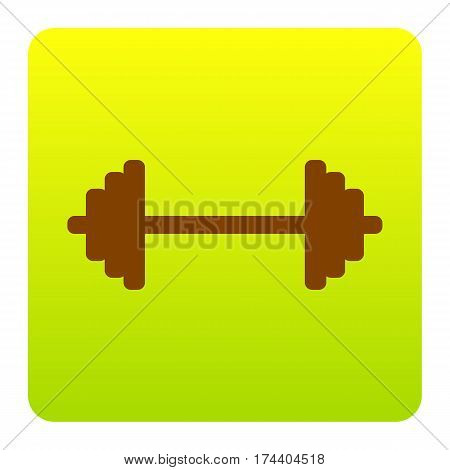 Dumbbell weights sign. Vector. Brown icon at green-yellow gradient square with rounded corners on white background. Isolated.