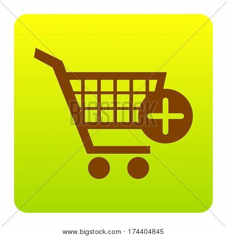 Shopping Cart with add Mark sign. Vector. Brown icon at green-yellow gradient square with rounded corners on white background. Isolated.