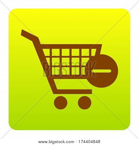 Vector Shopping Cart with Remove sign. Vector. Brown icon at green-yellow gradient square with rounded corners on white background. Isolated.