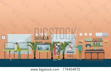 Vector illustration of pet shop with saleswoman, animals and people buying cat, dog, cockatoo in cage and food for parrots. Flat style design elements.