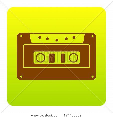 Cassette icon, audio tape sign. Vector. Brown icon at green-yellow gradient square with rounded corners on white background. Isolated.