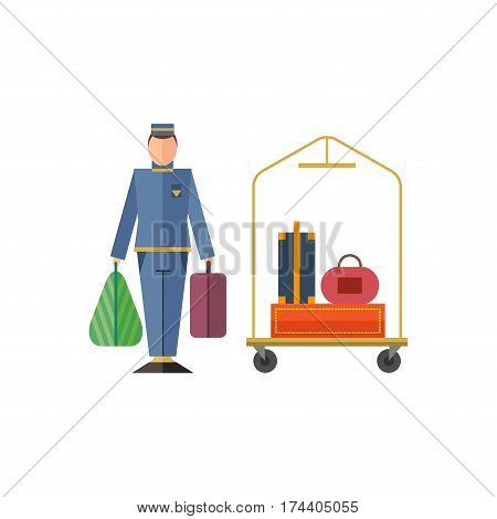 Hotel staff: bellboy, suitcase, bag, trolley. Flat design. Vector illustration.