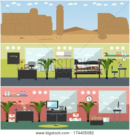 Vector set of posters, banners with archaeological lab interior and archaeological site concept design elements in flat style.