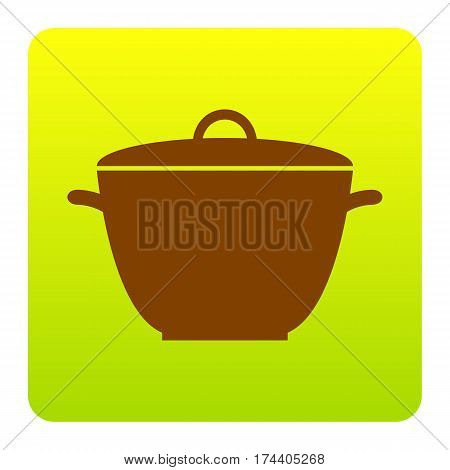 Saucepan simple sign. Vector. Brown icon at green-yellow gradient square with rounded corners on white background. Isolated.