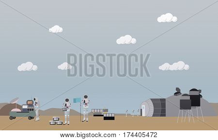 Vector illustration of astronauts landing on Mars, space base, equipment. Exploration of Mars, Red Planet concept design element in flat style.