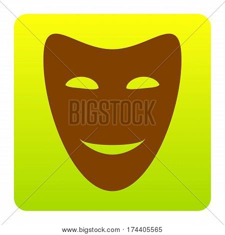 Comedy theatrical masks. Vector. Brown icon at green-yellow gradient square with rounded corners on white background. Isolated.