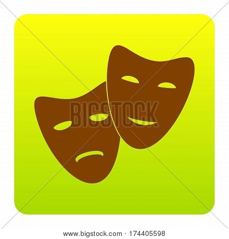 Theater icon with happy and sad masks. Vector. Brown icon at green-yellow gradient square with rounded corners on white background. Isolated.