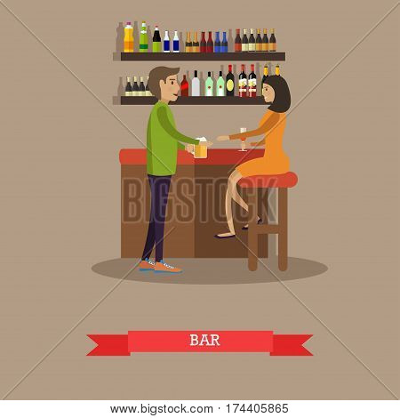 Vector illustration of woman with glass of wine sitting at bar counter and man with mug of beer coming near her. Bar interior. Flat style design.