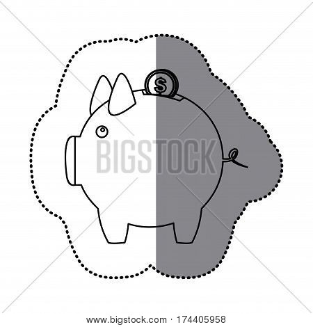 sticker silhouette piggy bank with dollar coin vector illustration