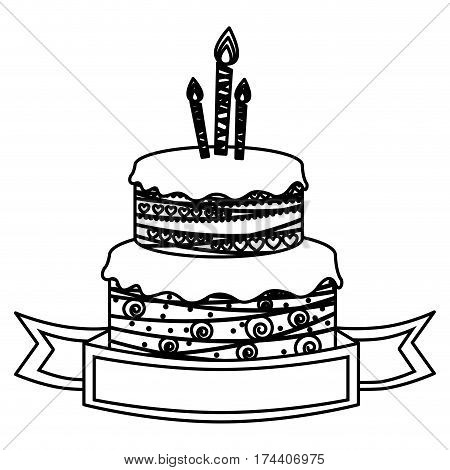 sketch silhouette birthday cake two floors with candles and ribbon vector illustration