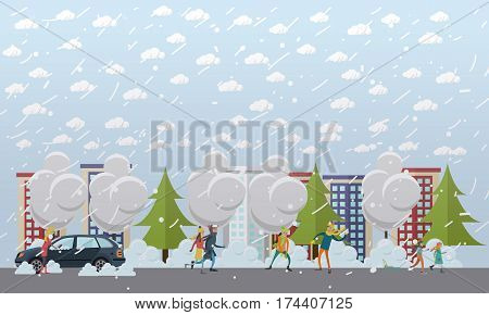 Blizzard concept vector illustration. Winter weather with snowfall and wind. Young woman clearing car from snow, couple walking in the street, children playing snowballs, sledding, flat style design.