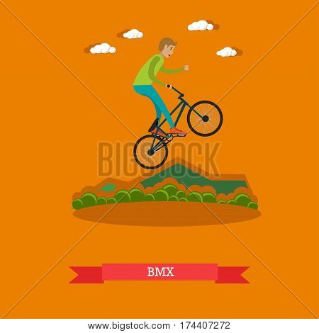 Vector illustration of boy riding bmx bike. Freestyle rider performing a jump based stunt. Sport bicycle for stunt riding concept design element in flat style.
