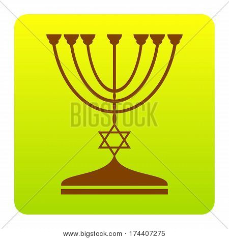 Jewish Menorah candlestick in black silhouette. Vector. Brown icon at green-yellow gradient square with rounded corners on white background. Isolated.