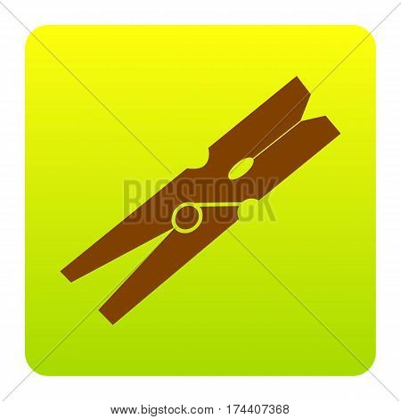 Clothes peg sign. Vector. Brown icon at green-yellow gradient square with rounded corners on white background. Isolated.