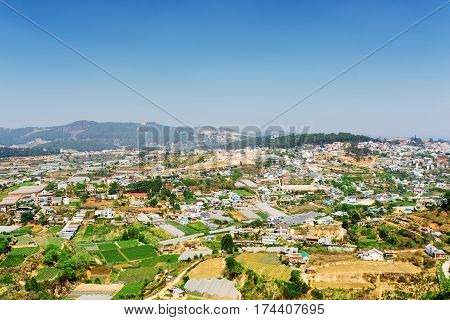 Beautiful View Of The Valley Of Agricultural Lands And Da Lat Ci