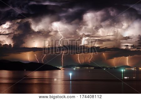 Dramatic Stormy Sky And Lightning Over Nha Trang Bay, Vietnam