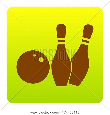 Bowling sign illustration. Vector. Brown icon at green-yellow gradient square with rounded corners on white background. Isolated.