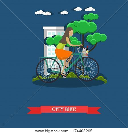 Vector illustration of a girl riding city bike. Bicycle or cycle, land vehicle concept design element in flat style.