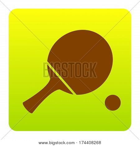 Ping pong paddle with ball. Vector. Brown icon at green-yellow gradient square with rounded corners on white background. Isolated.