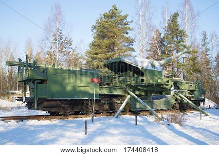 KRASNOFLOTSK, RUSSIA - FEBRUARY 08, 2017: A view of a 180-mm railway artillery cannon of TM-1-180 in fighting situation in the February afternoon. Fort