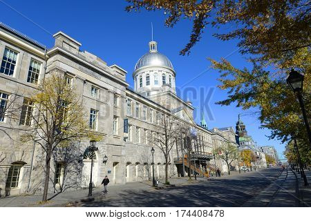 MONTREAL, CANADA - NOV 2, 2012: Bonsecours Market (Marche Bonsecours) is a Renaissance Revival style building built in 1844 on November 2nd, 2014 in Old town Montreal, Quebec, Canada.