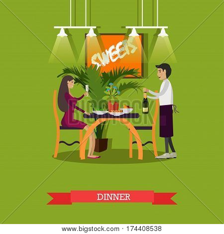 Vector illustration of young woman sitting at table and waiter with bottle of champagne. Restaurant dinner concept design element in flat style.