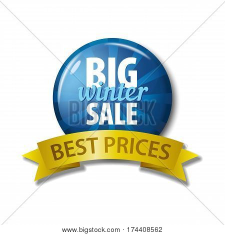 Blue Button With Words 'big Winter Sale - Best Prices'