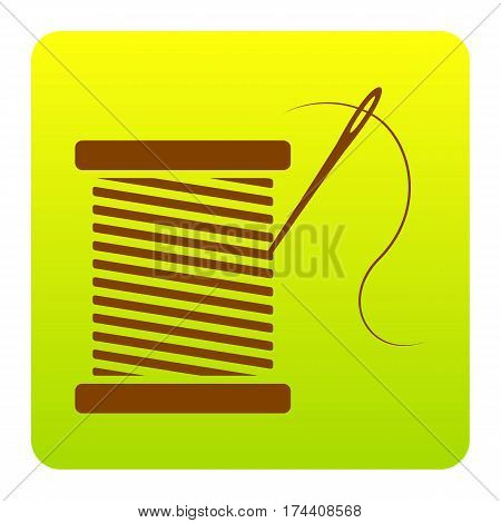Thread with needle sign illustration. Vector. Brown icon at green-yellow gradient square with rounded corners on white background. Isolated.
