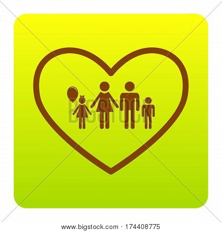 Family sign illustration in heart shape. Vector. Brown icon at green-yellow gradient square with rounded corners on white background. Isolated.