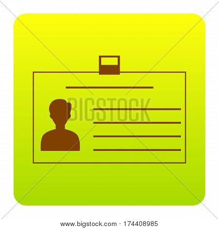 Identification card sign. Vector. Brown icon at green-yellow gradient square with rounded corners on white background. Isolated.