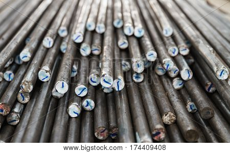 Steel Rods & bar in steel manufacturing factory.