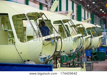 Ulan-Ude, Russia - March 03, 2017: Making of modern russian helicopters on the aircraft plant