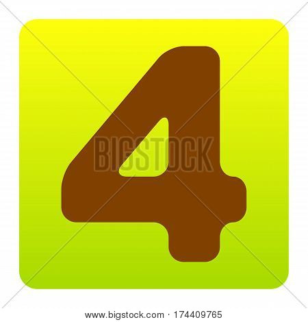 Number 4 sign design template element. Vector. Brown icon at green-yellow gradient square with rounded corners on white background. Isolated.
