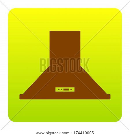 Exhaust hood. Kitchen ventilation sign. Vector. Brown icon at green-yellow gradient square with rounded corners on white background. Isolated.