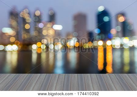 Opening wooden floor reflection blur light office building abstract background