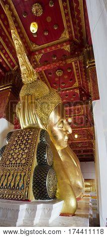 Big Golden Reclining Buddha Statue In Ubosot Or Chapel At Wat Phra Non Chakkrasi Worawihan