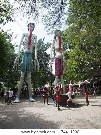 Statues Of Ghost And Zombie (preta) In Place Of Departed Spirits Or Hell Land At Wat Muang